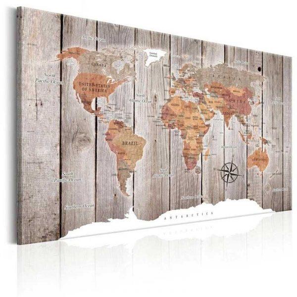 Toile carte du monde bois