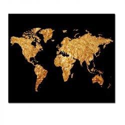 Toile carte du monde noir et or