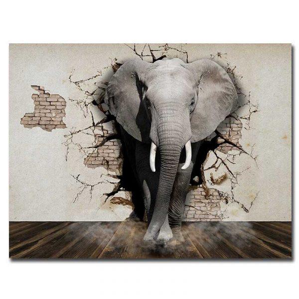 Toile éléphant 3D