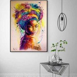 Toile femme africaine multicolore
