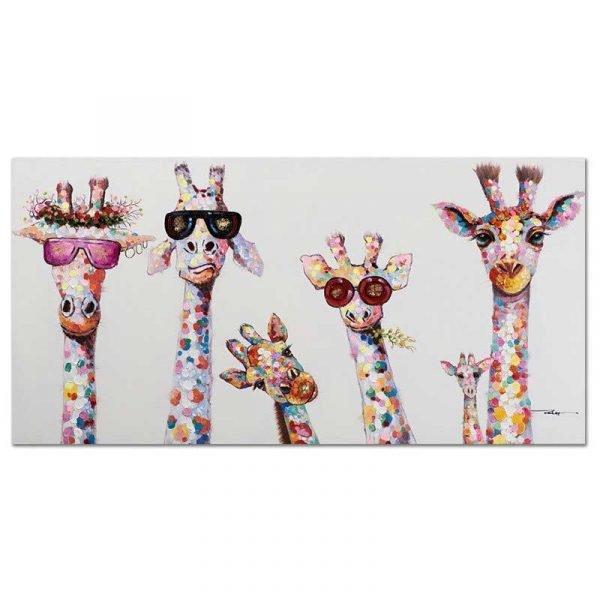 Toile girafes lunettes