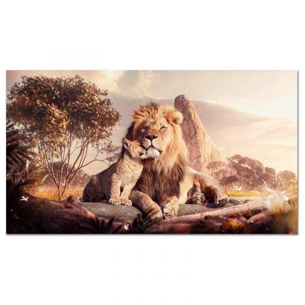 Toile lion et lionceau