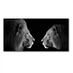 Toile lion et lionne noir et blanc