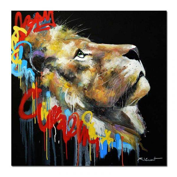 Toile lion graffiti
