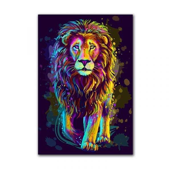 Toile lion multicolore