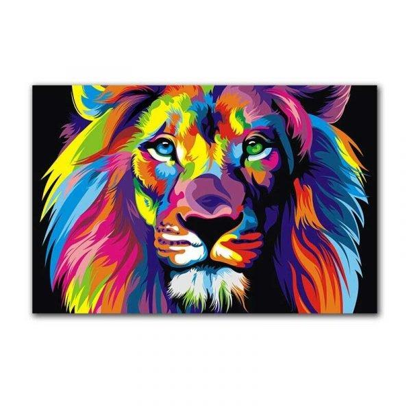 Toile lion pop art