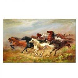 Peinture sur toile chevaux sauvages