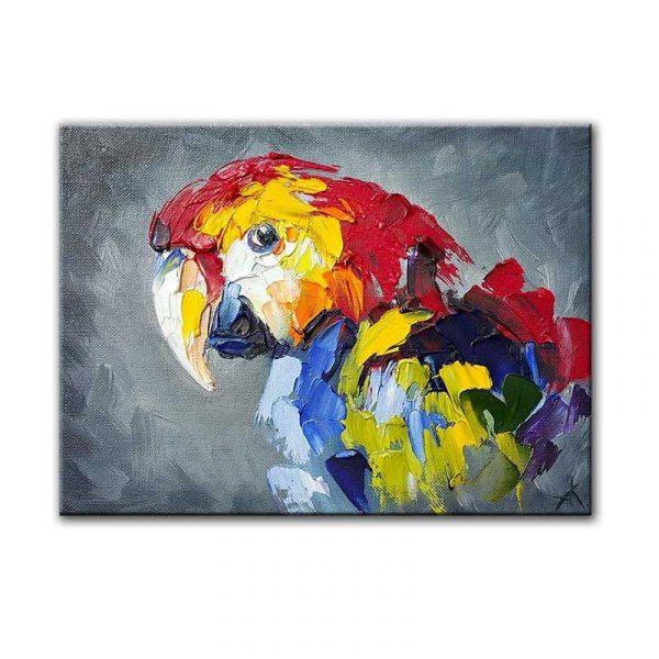 Toile peinture perroquet