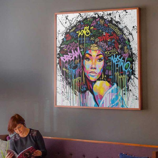 Toile street art femme africaine