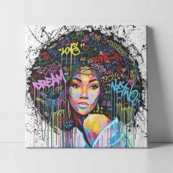 Toile street art fille africaine