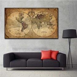 Tableau déco carte du monde vintage