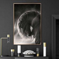 Tableau cheval noir et blanc