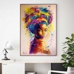 Tableau femme africaine multicolore