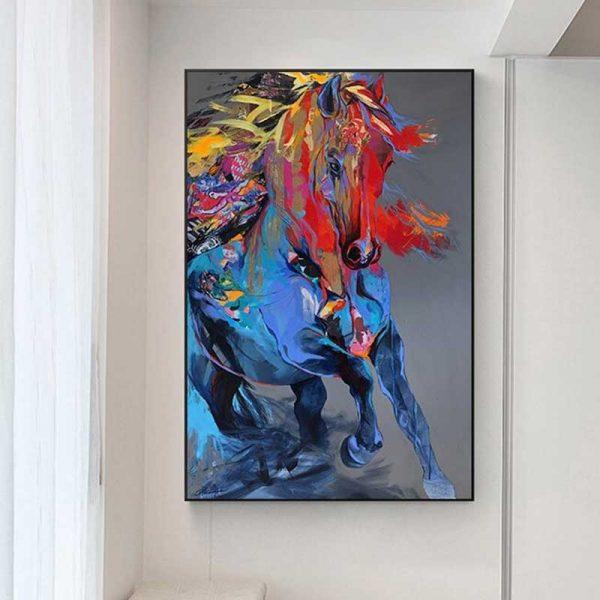 Tableau cheval abstrait