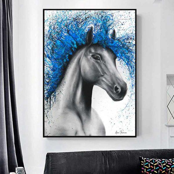 Tableau cheval bleu