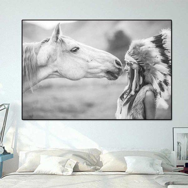 Tableau cheval et indienne