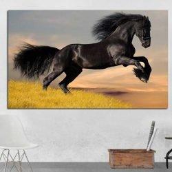 Tableau cheval noir
