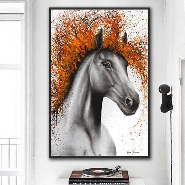 Tableau cheval orange
