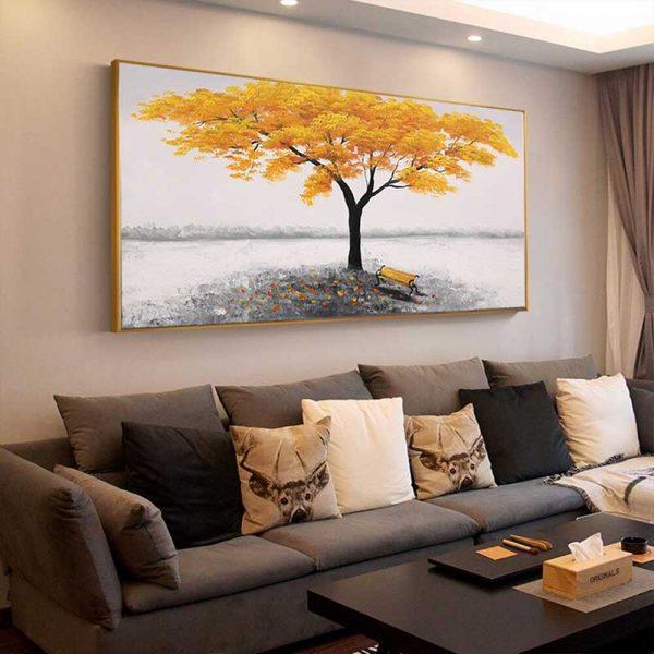 Tableau déco arbre jaune