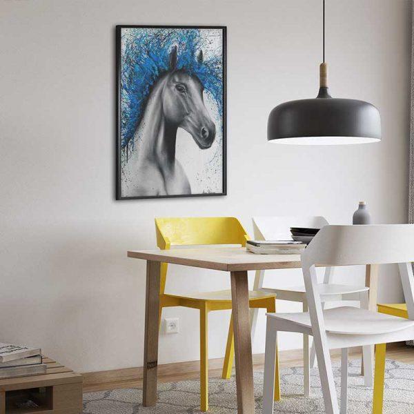 Tableau déco cheval bleu