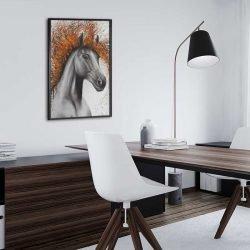Tableau déco cheval orange