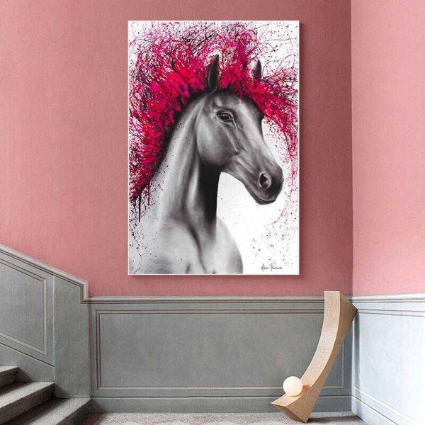 Tableau déco cheval rose