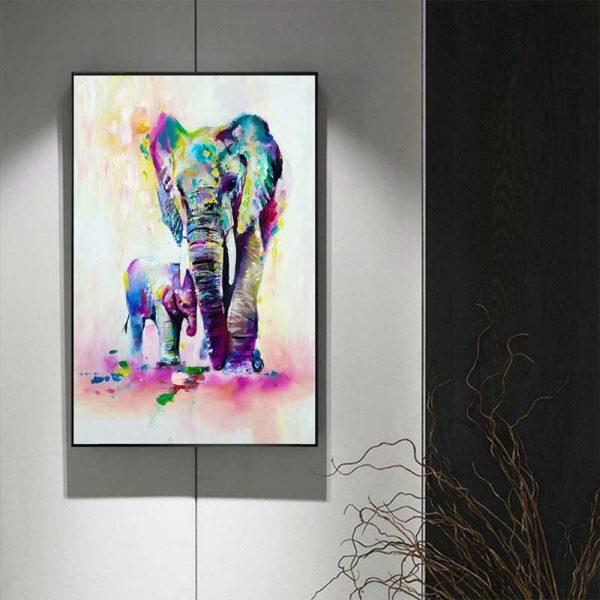 Tableau déco éléphant aquarelle