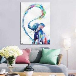 Tableau déco éléphant bleu