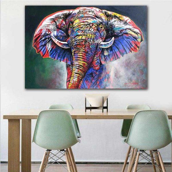 Tableau déco éléphant multicolore