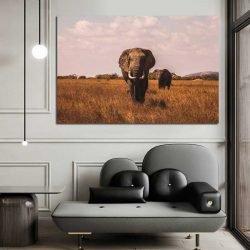 Tableau déco éléphant savane