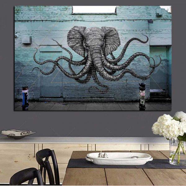 Tableau déco éléphant street art