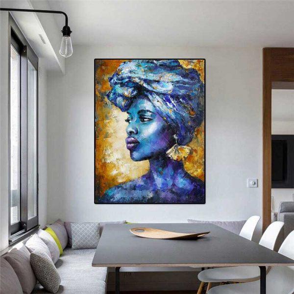 Tableau déco femme bleue