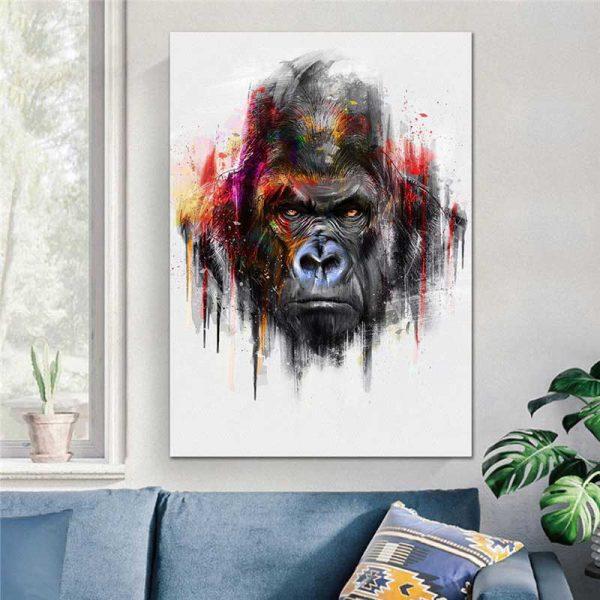 Tableau déco gorille couleur
