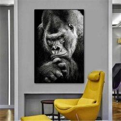 Tableau déco gorille noir et blanc