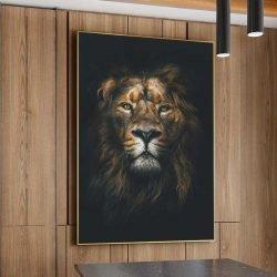 Tableau déco lion fond noir