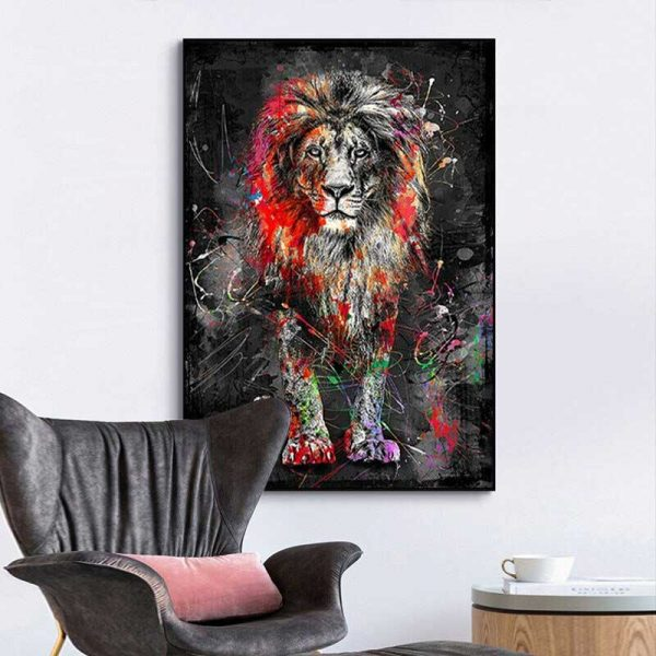 Tableau déco lion moderne