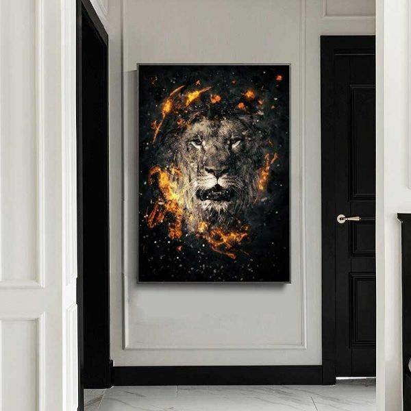 Tableau déco lion noir et or