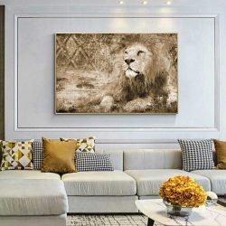 Tableau déco lion vintage