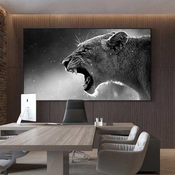Tableau déco lionne noir et blanc