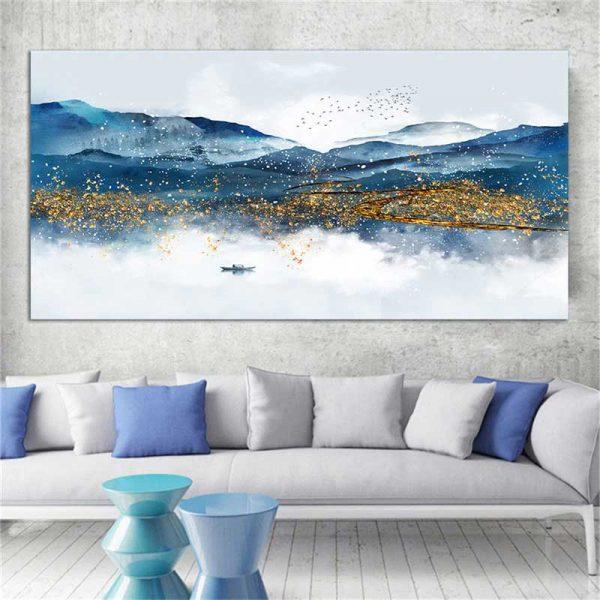 Tableau déco montagnes bleues scandinave