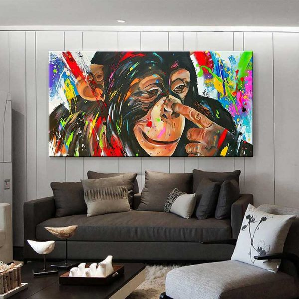 Tableau déco peinture singe