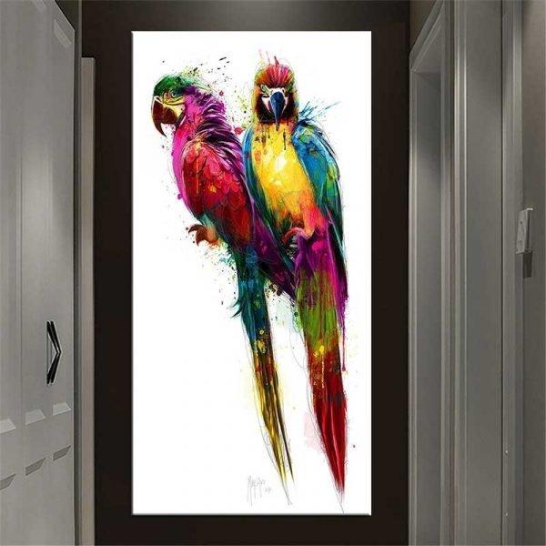 Tableau déco perroquet en couleur