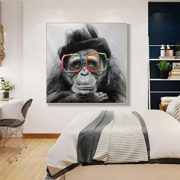 Tableau déco singe à lunettes