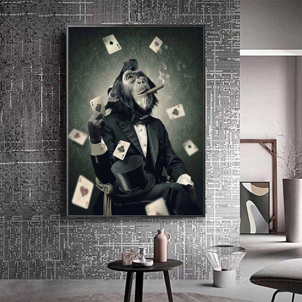 Tableau déco singe poker