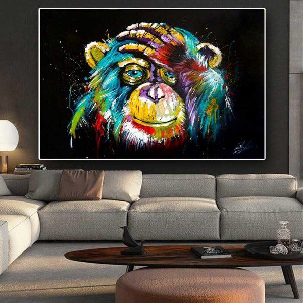 Tableau déco singe pop art