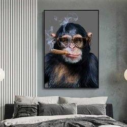 Tableau déco singe qui fume