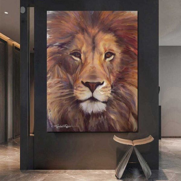 Tableau déco peinture tête de lion