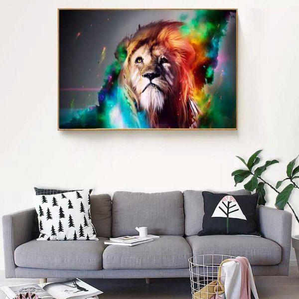 Tableau déco tête de lion multicolore