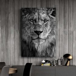 Tableau déco tête de lion noir et blanc