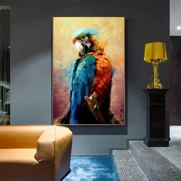 Tableau déco perroquet tropical
